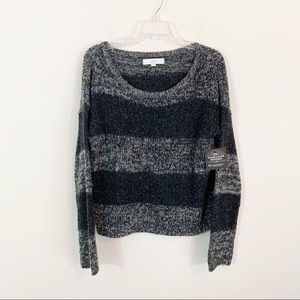 LOFT • Gray & Black Striped Sequin Sweater Size XL